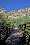 Footbridge to West Fork Oak Creek Royalty Free Stock Photos