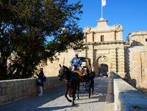 Footbridge and town gate, Mdina. Royalty Free Stock Image