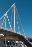 Footbridge under construction. In the background, modern buildin Royalty Free Stock Photo