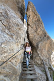 Footbridge on via ferrata Royalty Free Stock Photos