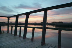 Footbridge walkway. Wetland landscape. Sunset. Tablas de Daimiel Royalty Free Stock Photography