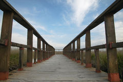 Footbridge walkway. Wetland landscape. Tablas de Daimiel. Ciudad Stock Photography