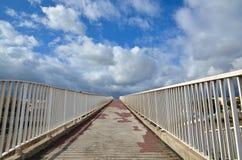 Footbridge with white fence Royalty Free Stock Photos