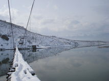 Footbridge in Winter near Urakë, Albania Royalty Free Stock Photography