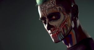 Footege de maquillage de zombi équipe dessus le visage clips vidéos