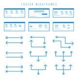 Footer de componenten van Wireframe voor prototypen Stock Afbeelding