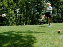 Footgolf发球区域 库存图片