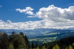 Foothills of the Alps. Alps mountains royalty free stock photo