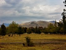 The foothills of Chatkal, the mountain nicknamed the people `Baradavka` stock images