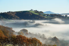 Foothills n the fog, Pays Basque Royalty Free Stock Images