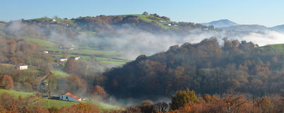 Foothills n the fog, Pays Basque Stock Photos