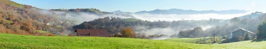 Foothills n the fog, Pays Basque Stock Image