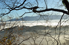 Foothills n the fog, Pays Basque Royalty Free Stock Image