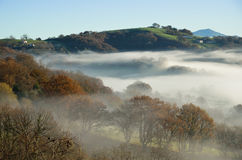 Foothills n the fog, Pays Basque Stock Photo
