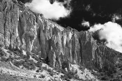 Foothills of the Pamirs in Tajikistan In black and white colors Royalty Free Stock Photography