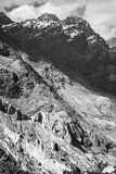 Foothills of the Pamirs in Tajikistan In black and white colors Royalty Free Stock Photo