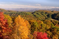 Foothills Parkway View into Smoky Mountains in Autumn Color. A colorful view from Foothills Parkway West into the Great Smoky Mountains National Park, Tennessee Royalty Free Stock Photography