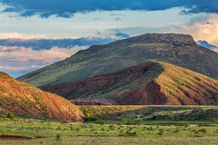 Foothills of Rocky Mountains in Colorado. Red Mountain Open Space near Fort Collins with a dam on Sand Creek Royalty Free Stock Images