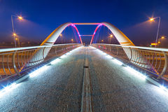 Foothpath bridge over bypass of Gdansk. At night, Poland Royalty Free Stock Photography