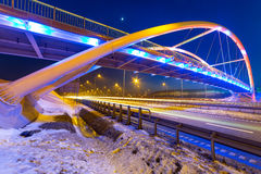 Foothpath bridge over bypass of Gdansk. At night, Poland Stock Images