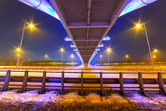 Foothpath bridge over bypass of Gdansk. At night, Poland Stock Photography