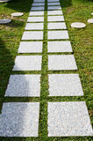 A foothpath. A curvaceous foothpath made of concrete blocks across the grass Royalty Free Stock Photo