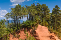Foothpath of ocher at Roussillon village, France. Foothpath of ocher at Roussillon village Royalty Free Stock Image