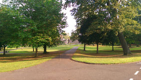 A foothpath in a park. A footpath in a green park Royalty Free Stock Image