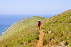 Foothpath to cape tenaro Royalty Free Stock Photography