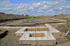 Footings at a construction site Royalty Free Stock Images