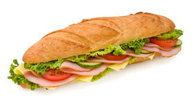 Footlong Ham & Cheese submarine sandwich Royalty Free Stock Photo