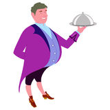 Footman with dish for quests Royalty Free Stock Photography