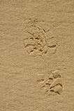 Footmark on beach. Footmark of Hiking shoes on beach Royalty Free Stock Images