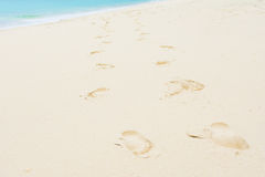 Footmark on the beautiful beach. Relax Royalty Free Stock Photography