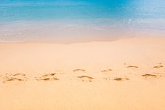 Footmark in the Sand   on Beach at Thailand Stock Photo