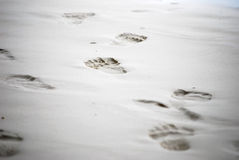 Footmark on sand Royalty Free Stock Photo