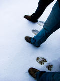 Footmarks on new snow Royalty Free Stock Images