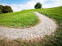 Footpath. Old cobblestone footpath at a park in vienna Royalty Free Stock Photos
