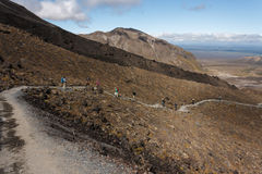Footpath across lava field in Tongariro National Park Stock Photos