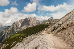 Footpath across slope in Dolomites Royalty Free Stock Photos