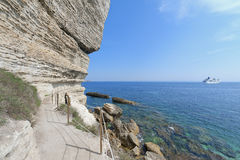 Footpath along the coast of Bonifacio, Corsica Royalty Free Stock Photo