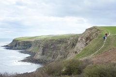 Footpath along coastal cliffs. Footpath along the top of coastal cliffs overlooking a calm ocean on an overcast day in a scenic landscape view Stock Images