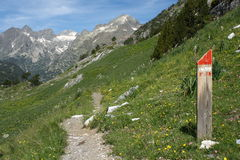 Footpath in Aragon Pyrenees. Walking track in Aragon Pyrenees Royalty Free Stock Photography