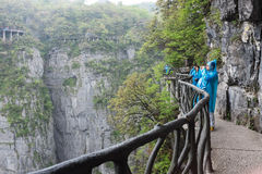 Footpath around cliffs in Tianmen mountain, China Stock Images