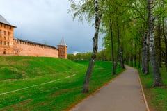 Footpath around the Novgorod Kremlin Royalty Free Stock Image