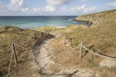 Footpath at Beach in Malpica, Fisterra. Costa de la Muerte; Galicia; Spain Royalty Free Stock Images