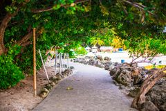 Footpath between the beaches on island of Boracay Royalty Free Stock Image
