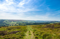 Footpath in beautiful countryside landscape. View of Hope Valley in the Peak District, Derbyshire County Stock Photo