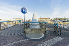 Footpath and bicycle path sign on a bridge Stock Photos