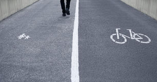 Footpath and bike lane Royalty Free Stock Photo